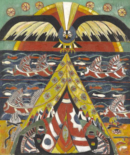 Marsden Hartley: Indianische Fantasie, 1914. Öl auf Leinwand. North Carolina Muse Erworben mit Mitteln des Staates North Carolina