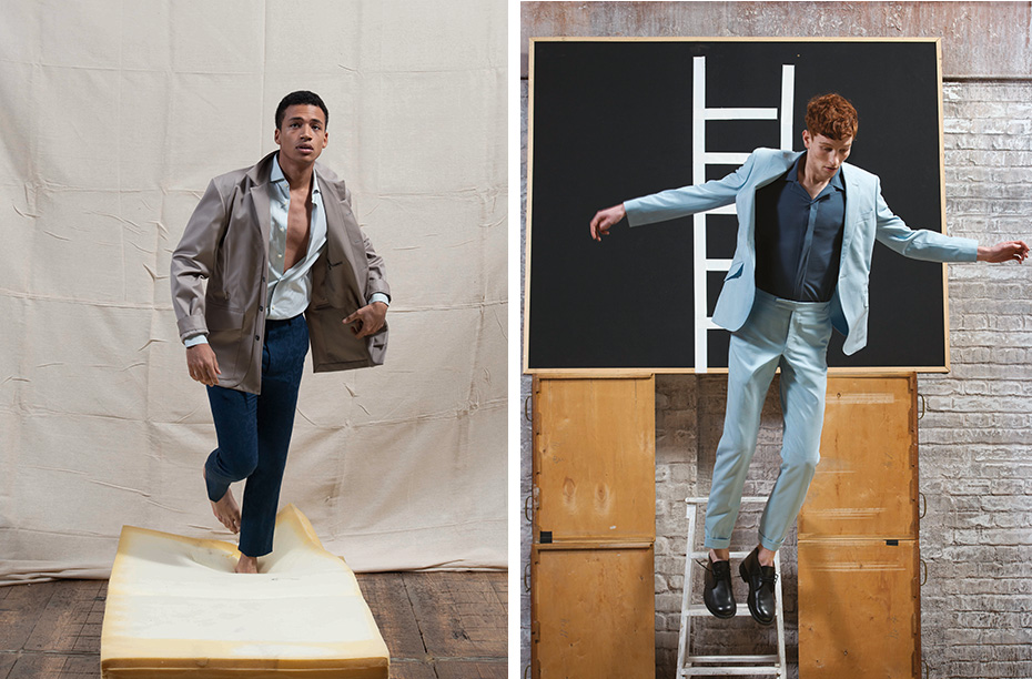 Henry wears wool gabardine safari jacket,cotton poplin shirt and  floral jacquard single pleat trousers ERMENEGILDO ZEGNA COUTURE  Right: Greg wears cool wool suit RICHARD JAMES Jersey shirt DIOR HOMME Leather boots MARGARET HOWELL