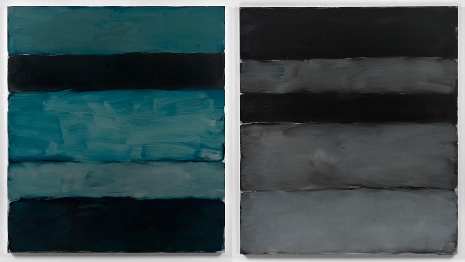 Left: Sean Scully  'Landline Blue',  2014 Oil on alum; Right: Sean Scully  'Landline Grey Grey',  2014 Oil on aluminium