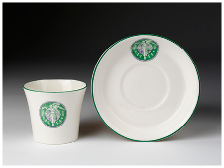 1. Bone china with emblem of Women's Social and Political Union (WSPU), Photo (c) Victoria and Albert Museum, London