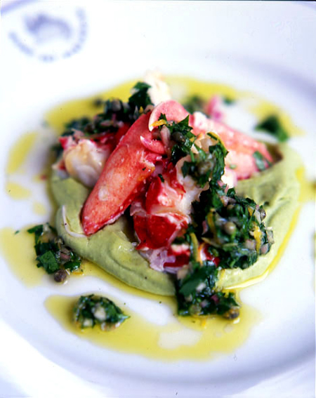 Boiled lobster with broad bean purée, and lemon and caper vinaigrette