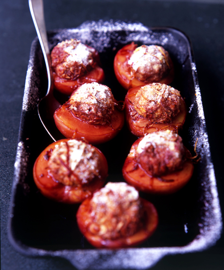 Roast Peaches with Ricotta, Almonds and Port