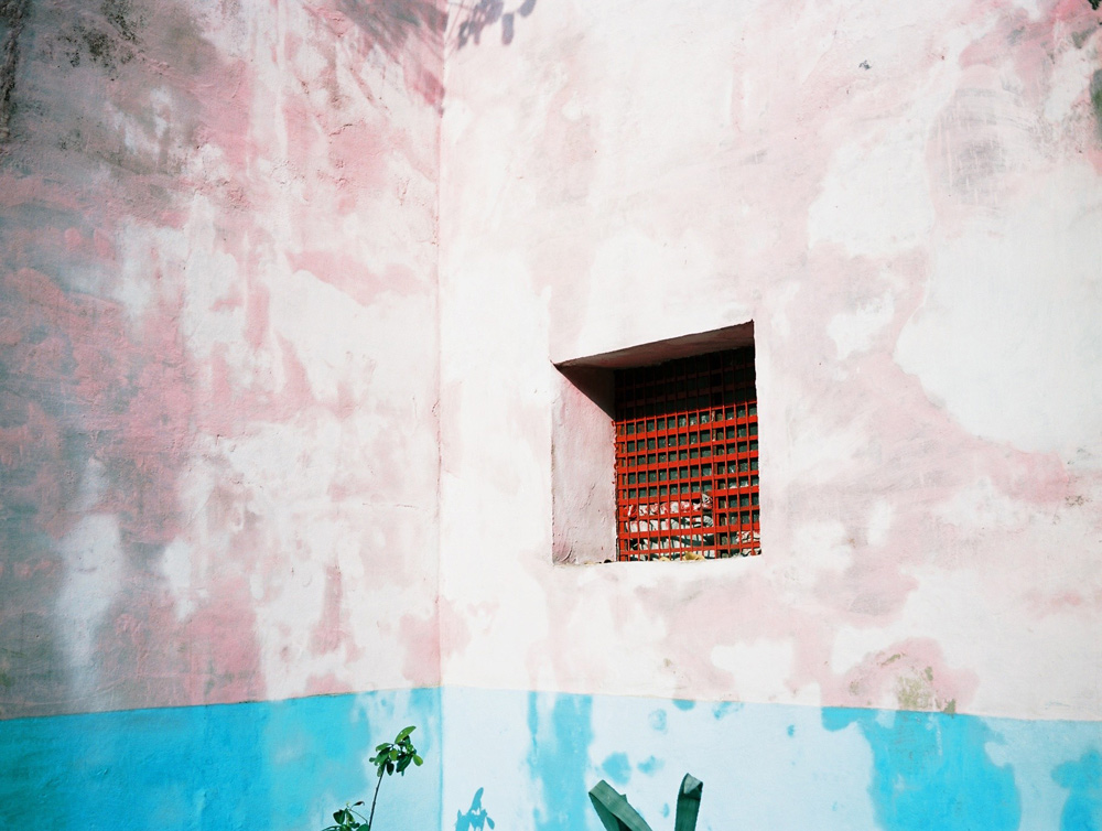 Pink wall in central Havana