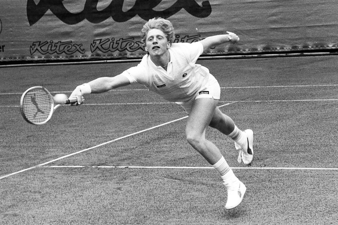 Young Boris Becker playing at the Kitzbühel Tennis Tournament. Image courtesy of KTC.