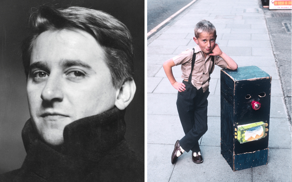 Left: Portrait of James Irvine. Right: Picture of Irvine aged seven with his handmade robot costume ©Santi Caleca  1965