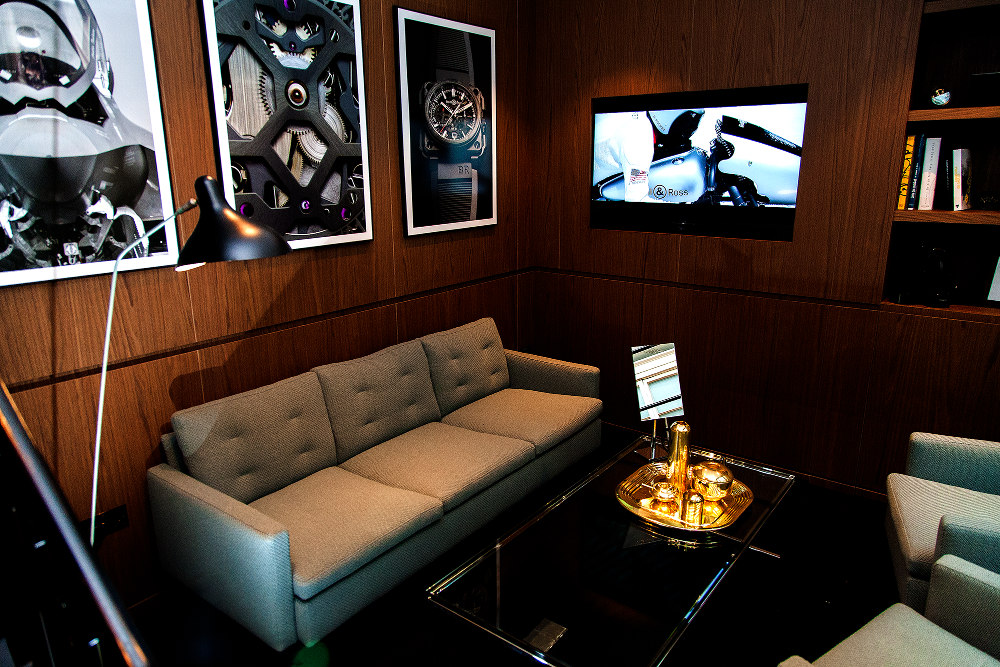 The first-floor lounge at Bell & Ross' Mayfair boutique