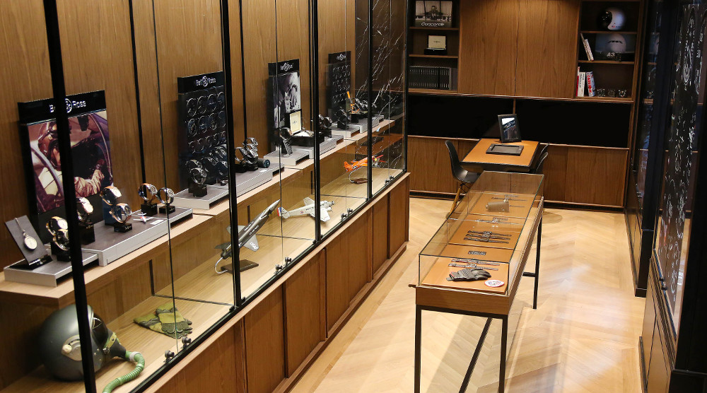 The interior of Bell & Ross boutique, ground floor