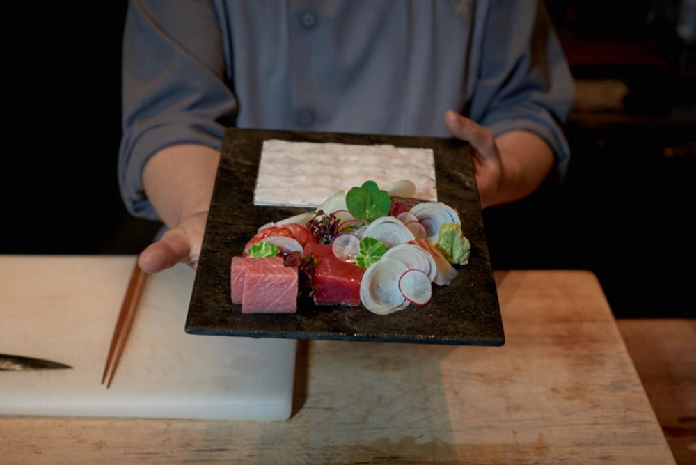 Assorted Cornish and Portuguese Ikejime fish sashimi plate