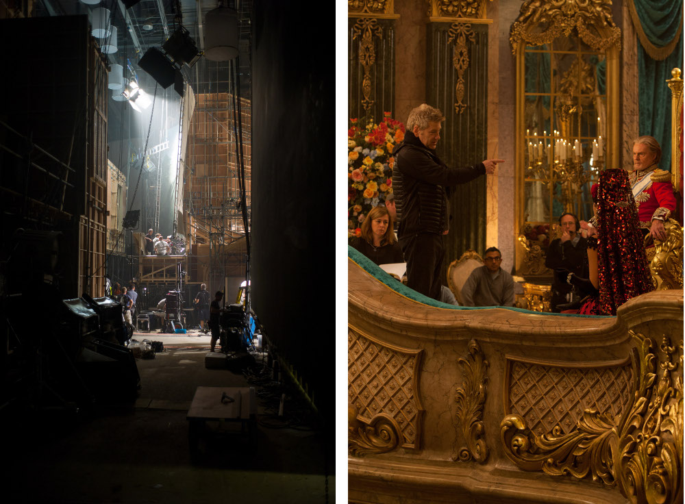 Left – Behind the scenes on the set of Cinderella. Right – Kenneth Branagh directing Derek Jacobi as the King in Cinderella