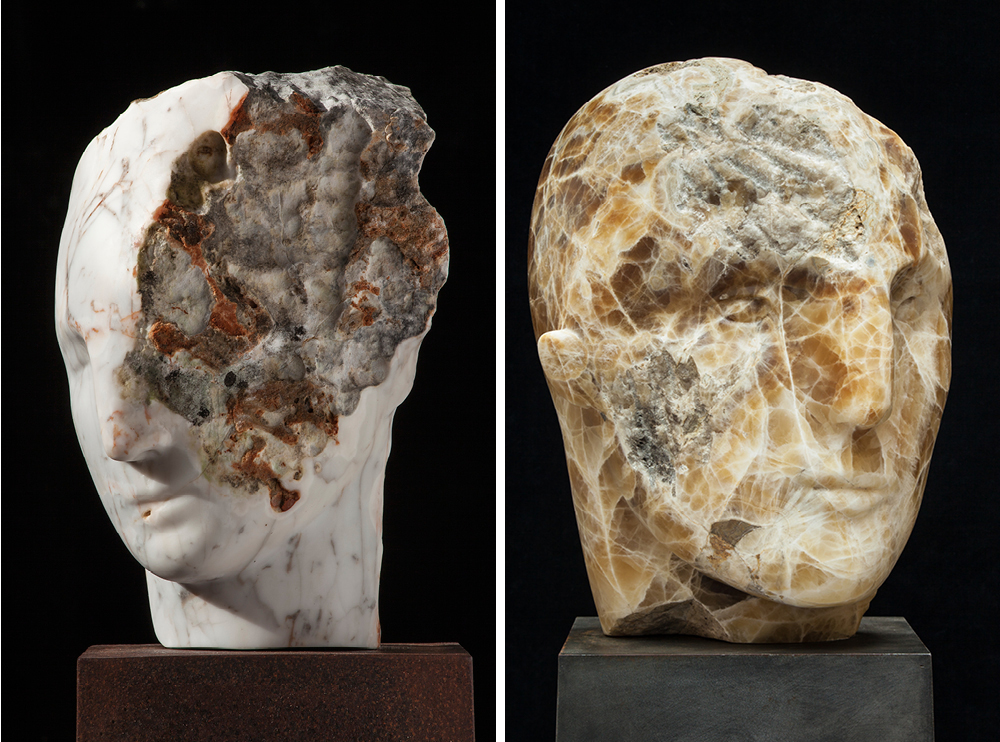 Left: Emily Young, Rosea Marble Head, 2015, Rosea Marble, 30x20x26cm. Right: Emily Young, Mont Amiata Warrior, clastic igneous rock, 51x41x47 cm, 2012. © Emily Young, courtesy of The Fine Art Society.