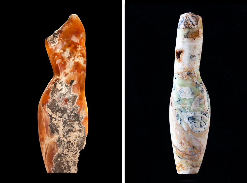 Left: Emily Young, Clouded Torso, 2015, Caramel Onyx, 30x25x9cm. Right: Emily Young, Primavera Torso, 2015, Brecchiated Onyx, 72x20x7cm.