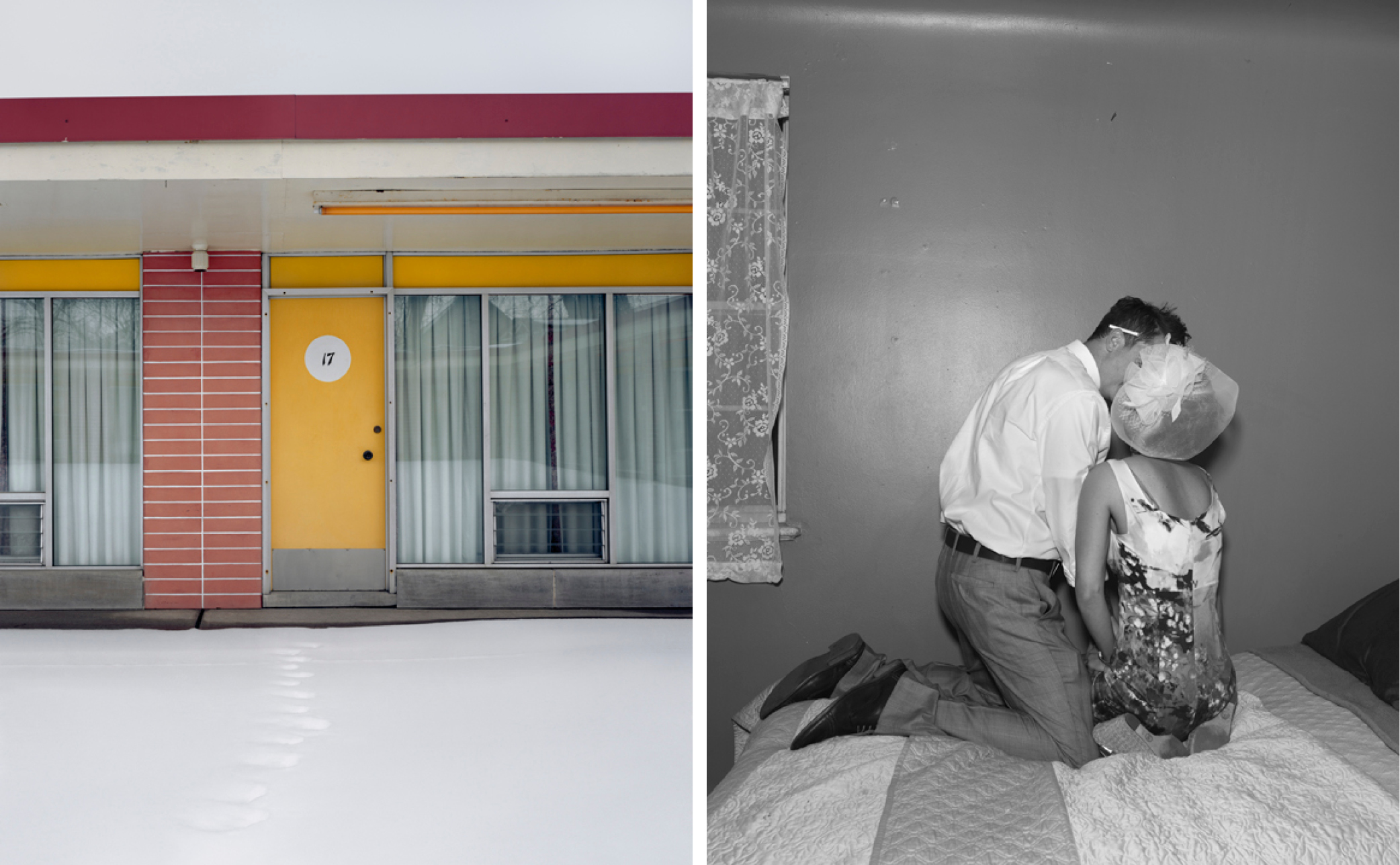 Right: Cadillac Motel, from Niagara, 2005 © Alec Soth – Left: Dave and Trish. Denver, Colorado, from Songbook, 2014 © Alec Soth.