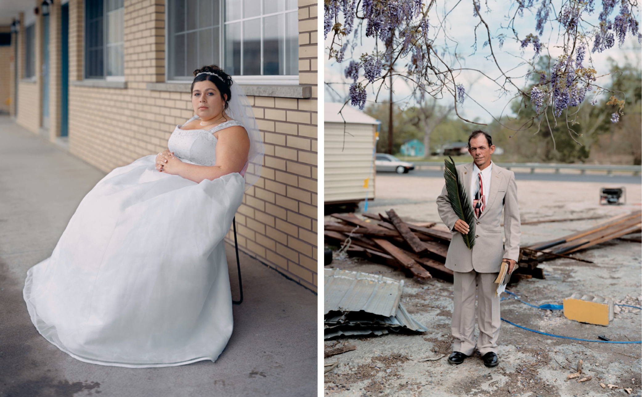 Left: Melissa, 2005, from Niagara © Alec Soth.  Right: Patrick, Palm Sunday, Baton Rouge, Louisiana, 2002, from Sleeping by the Mississippi © Alec Soth.