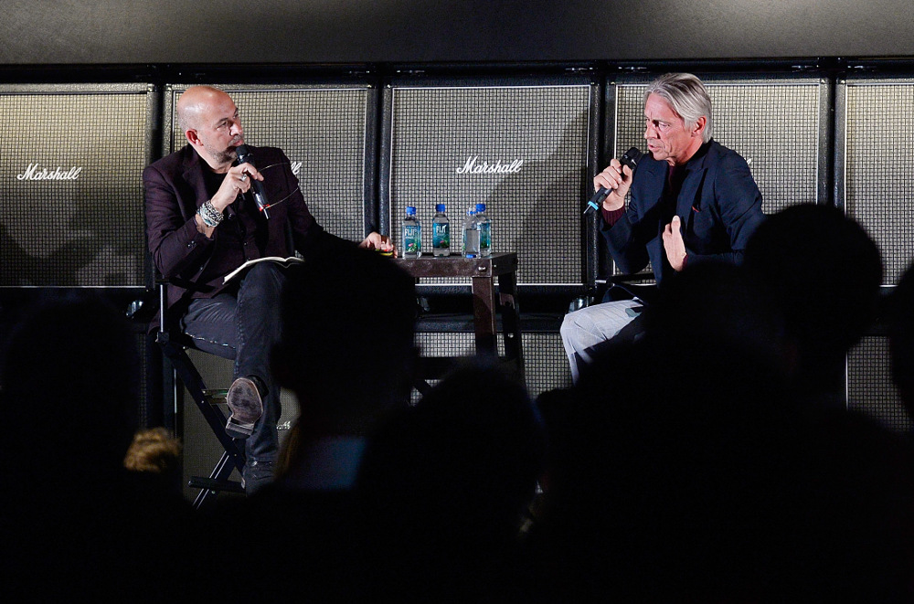 John Varvatos (left) in conversation with Paul Weller (right) at Varvatos' London store. The pair discussed topics including rock and roll to style. September 17, 2015