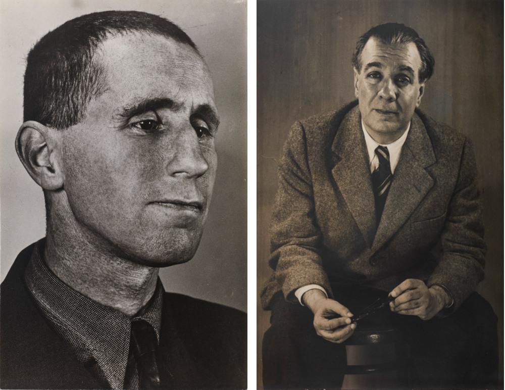 Left: Grete Stern, Bertolt Brecht, 1934 – Right: Grete Stern, Jorge Luis Borges, 1951