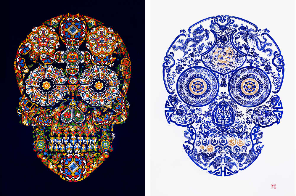 Stained Glass Skulls by Jacky Tsai. Image courtesy of the artist and The Fine Art Society