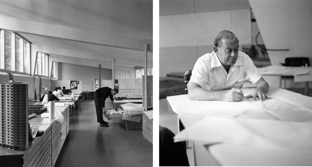 Left: The fully functioning Studio Aalto in the 1960s Photo by Heikki Havas © Alvar Aalto Museum – Right: Alvar Aalto at work