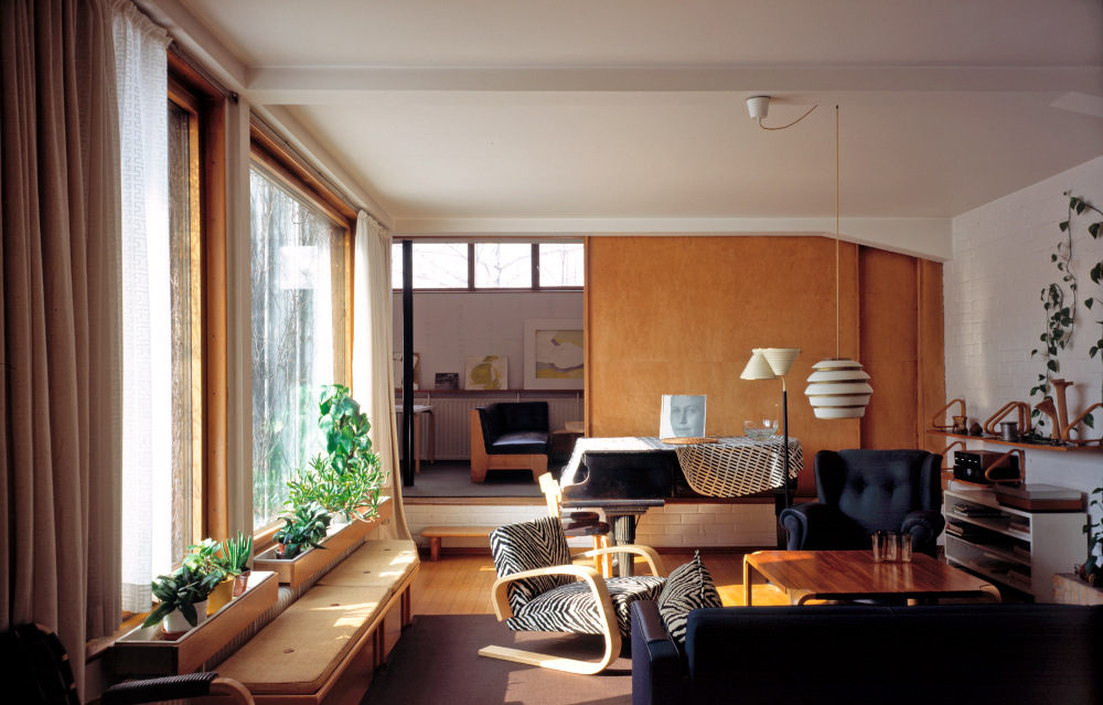 The Aalto House Living Room With A Sliding Door To The Studio Behind U2013  Photo By