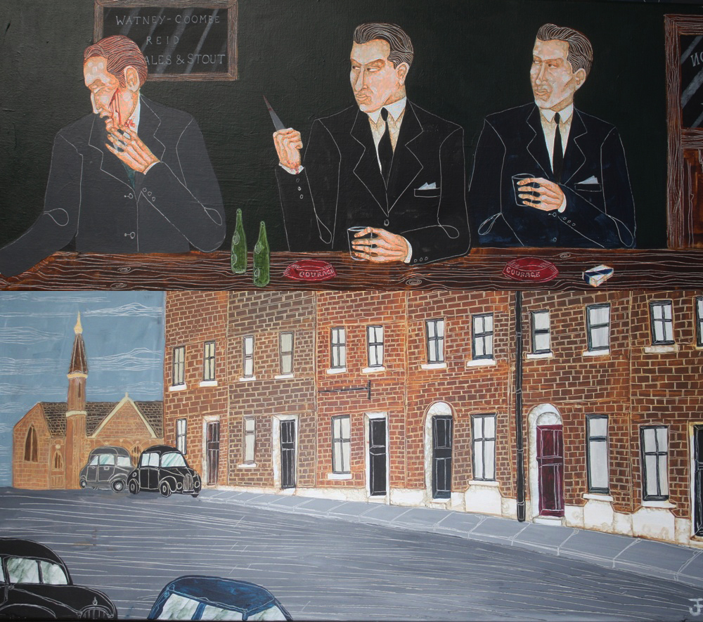 Above: Ronnie Kray Cutting a Man in a Pub. Below: Valence Road.