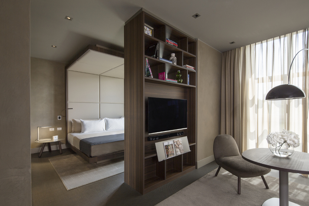 A view inside the refurbished bedrooms of the ME Milan Il Duca