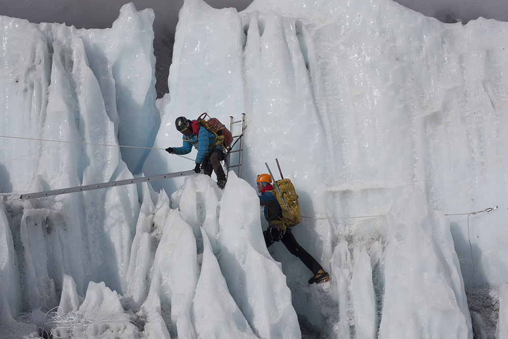 Sherpas training in Khumbu Icefall
