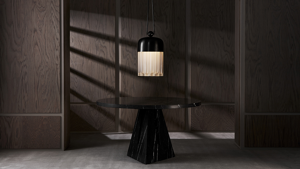 APPARATUS - PORTAL MARBLE DINING TABLE AND TASSEL 19 IN SITU
