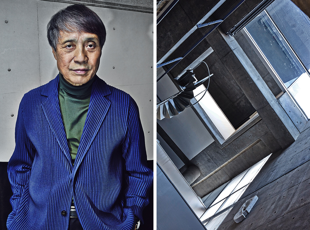 Left: Tadao Ando in his studio – Right: The impeccably smooth concrete surfaces that have become Ando's trademark are particularly prominent in the atrium of his studio