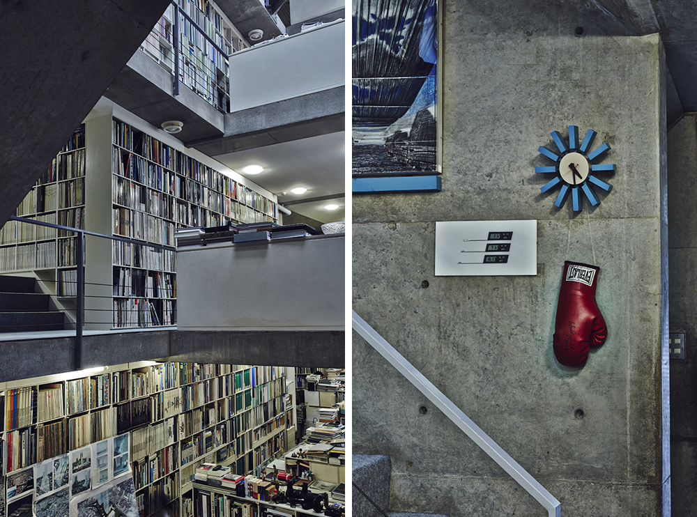 Left: Walls throughout the building accommodate shelves filled with books and magazines – Right: A boxing glove signed by Evander Holyfield hangs from George Nelson's Block Clock in the stairwell