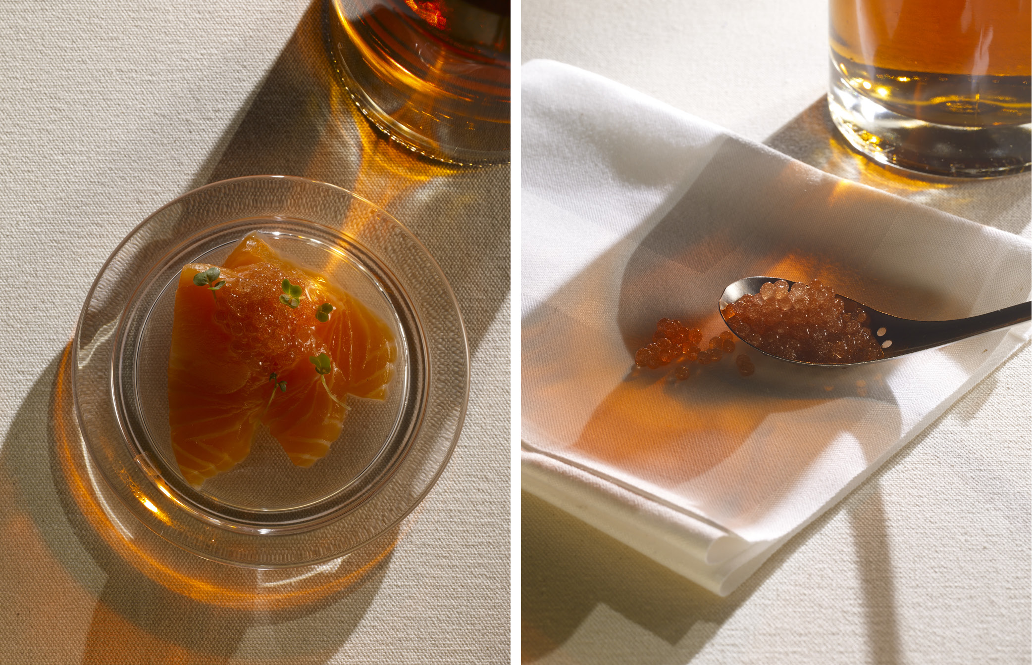 Left: Youssef's salmon sashimi – Right: caviar made from Chivas Regal 18 Ultimate Cask Collection First Fill American Oak