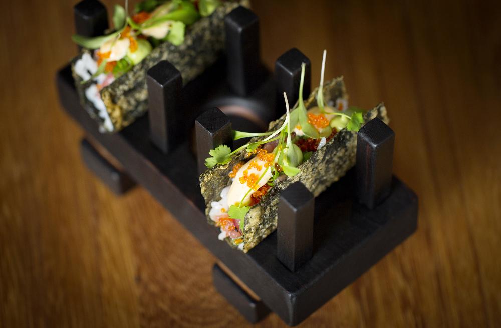 Open temaki of toro tartare, scallion tobiko, sushi rice, spiced mayonnaise