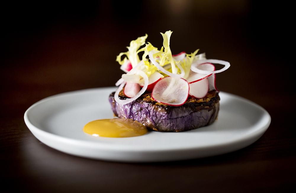 Pale aubergine, crispy shallots, aka miso glaze, herb salad