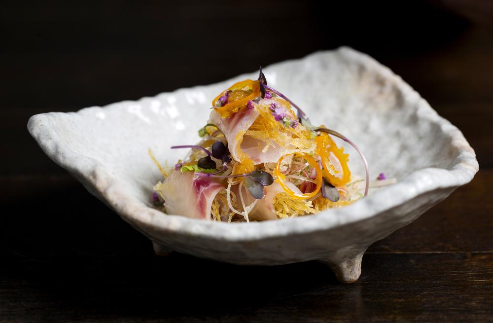 Sea bass sashimi salad with myoga and shiso, apple oroshi, ponzu dressing