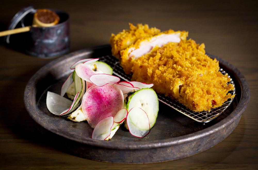 Ton katsu crumbed pork, seasonal radishes, kombu dressing