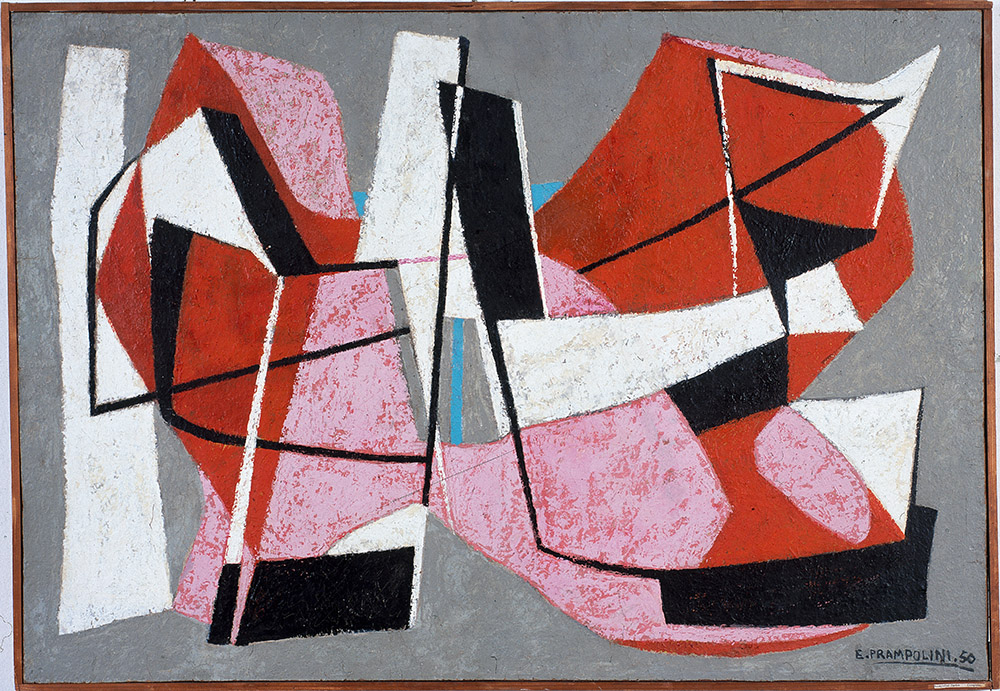 Enrico Prampolini, Composizione, 1952, 80x115 cm, oil on masonite