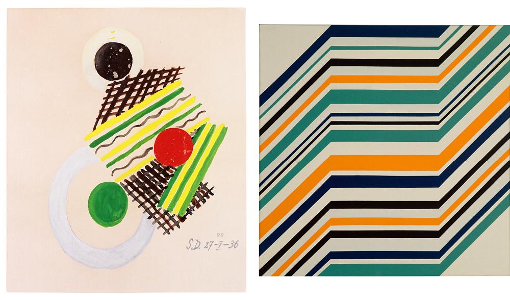 Left: Sonia Delaunay, Untitled, 1936, 64x46 cm, gouache on paper – Right: Ottavio Missoni, Senza titolo, 1971, 73 x 73 cm, acrylic on board. MISSONI, L'ARTE, IL COLORE
