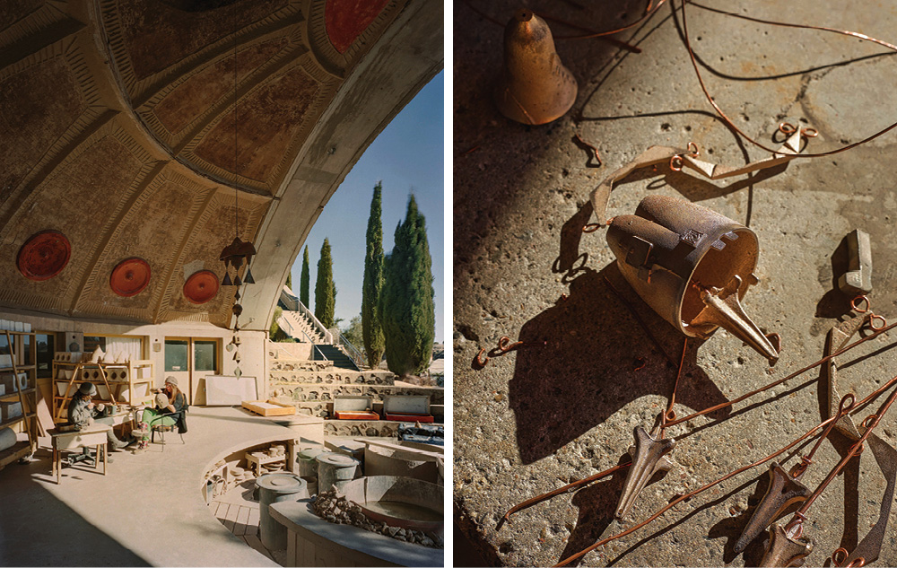 Left: The ceramics studio, which doubles as a stage for performing arts and conferences, is positioned so that, by the summer solstice, the workspace will be in shade – Right: Soleri wind bells and their clappers prior to assembly