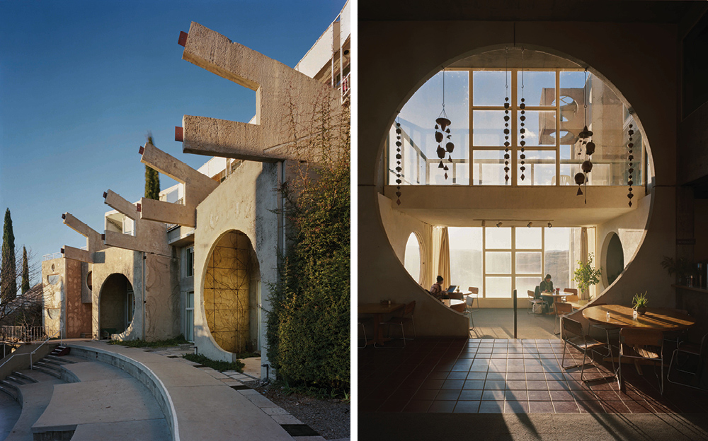 Left: The experimental East Crescent neighbourhood combines apartments, workshops, a library and spaces for students, which all back on to a public amphitheatre – Right: A round window in the Arcosanti cafe frames a balcony and the view to the west