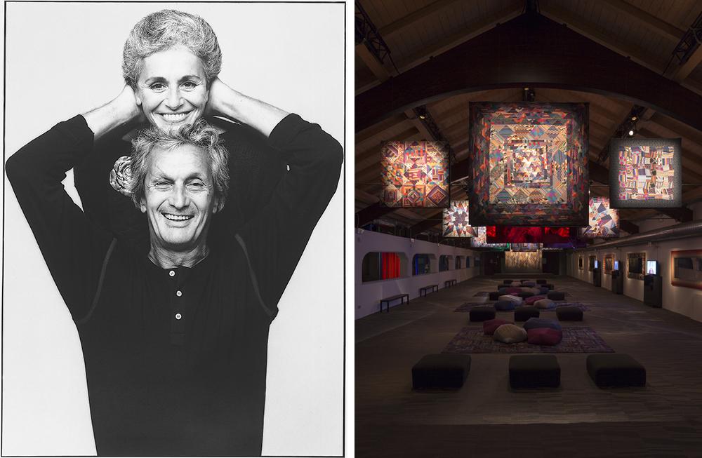 Left: Ottavio and Rosita Missoni, 1984. Photograph by Giuseppe Pino – Right: 'La sala degli arazzi' installation of Ottavio Missoni's patchwork of knitted fabrics at MISSONI, L'ARTE, IL COLORE, 2015