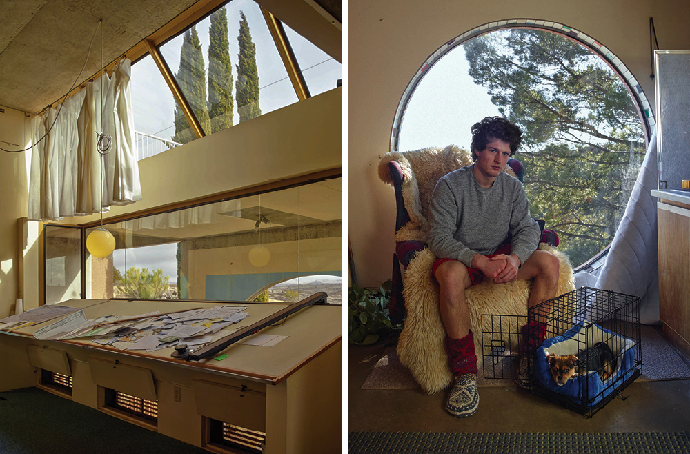 Left: The drafting table of Arcosanti's founding architect, Paolo Soleri – Right: Resident and college student Tristan Tollas in his room with a view of the 4,000 acre preserve that surrounds Arcosanti