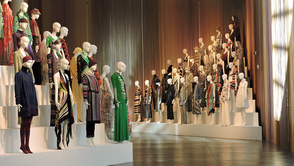 The Forms of Fashion installation of Missoni garments dating from 1953 to 2014 at MISSONI, L'ARTE, IL COLORE, 2015