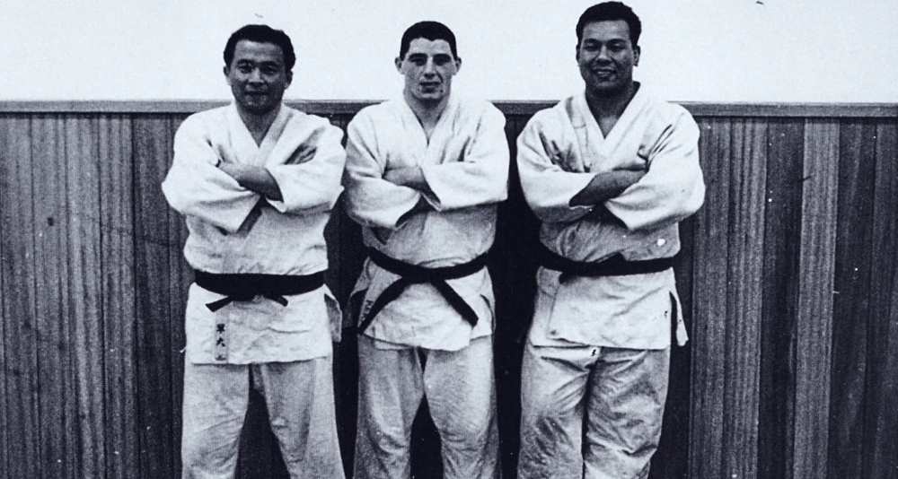 George Kerr and his training partners Osawa and Daigo at the KODOKAN Institute Tokyo, Japan, 1958