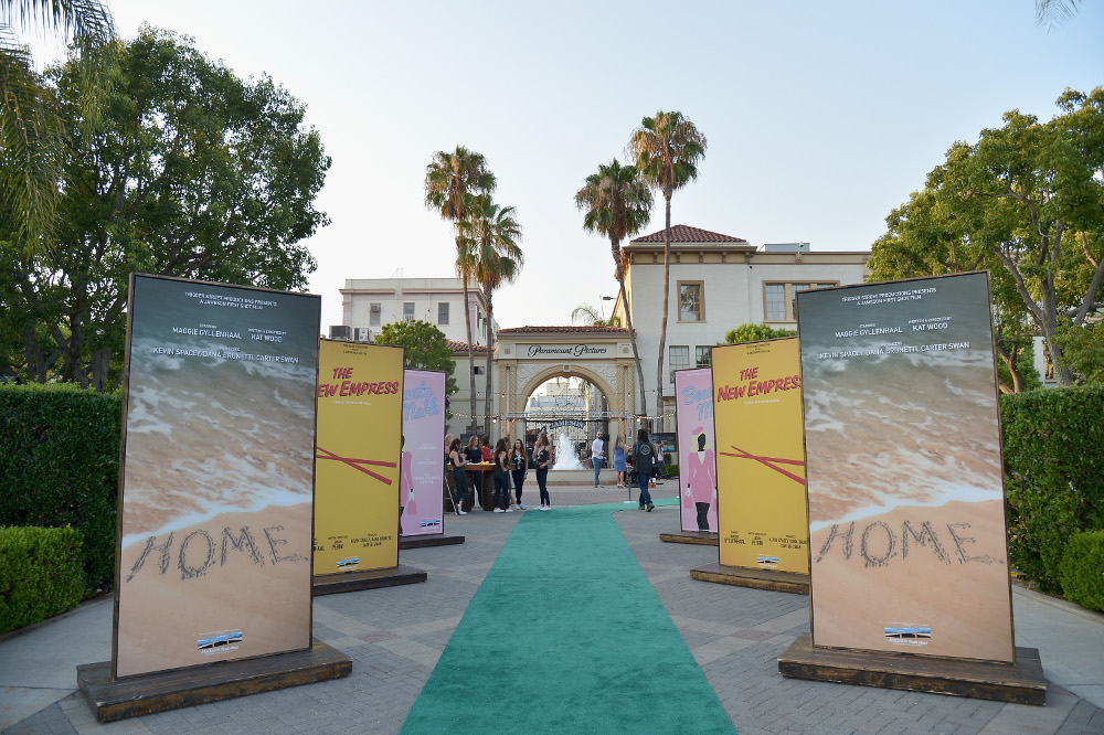 Posters for the winning films of Jameson's First Shot Short Film Competition sit alongside the green carpet at Paramount Pictures Studios – Photo by Charley Gallay/Getty Images for Jameson / Pernod Ricard