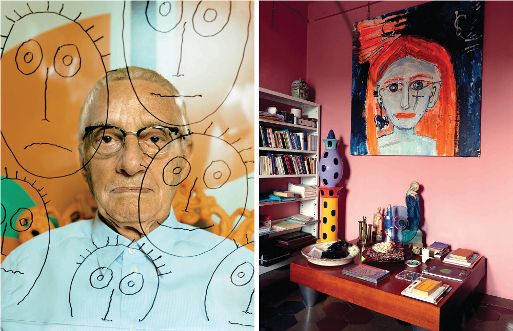 Left: Alessandro Mendini at his studio in Milan, holding a sheet of glass on which he sketched some fans in his signature cartoon-like style.  Right: A corner of Mendini's study with an Alessandro Vignoli painting hanging above the coffee table designed by Giusi Mastro. The ceramic Colonna sculpture is by Maria Christina Hamel.