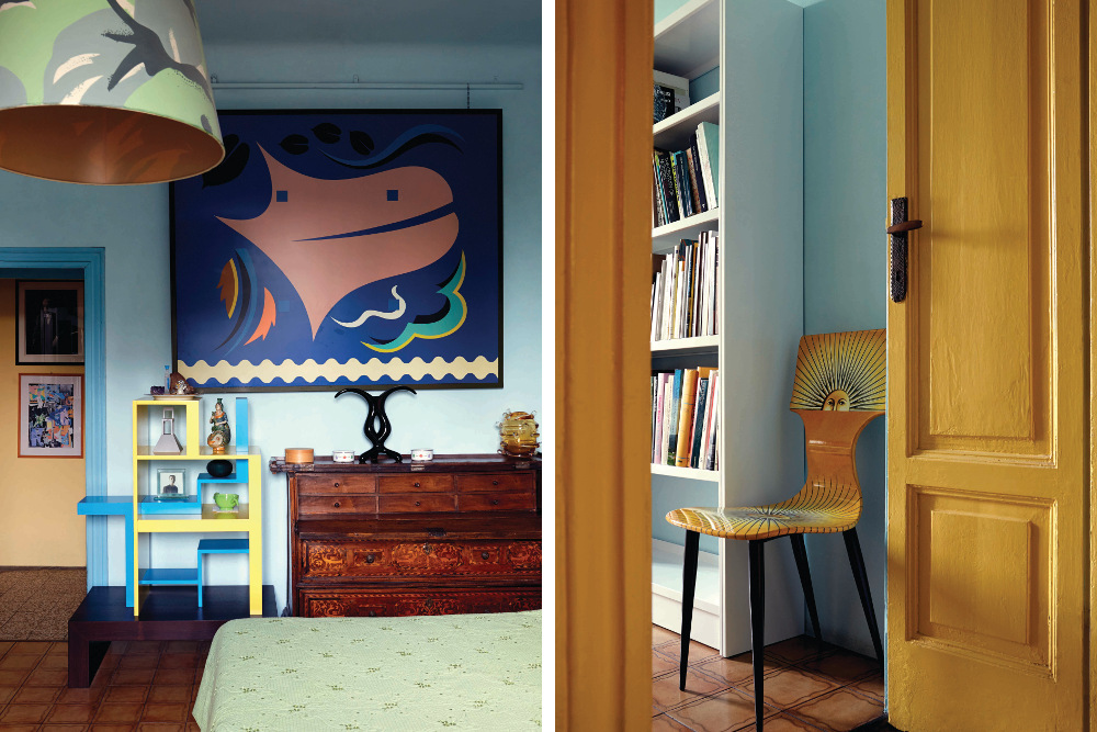 Left: Near the bedroom door are a painting and a prototype for a shelving unit, both produced by Mending in 1996. Right: A chair by Piero Fornasetti stands next to a bookcase in Mendini's bedroom.