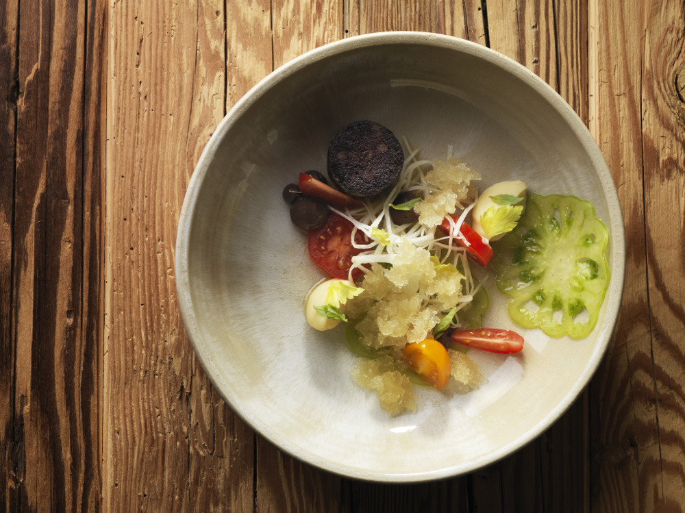 Black pudding, celeriac, and tomato Photography René Riis