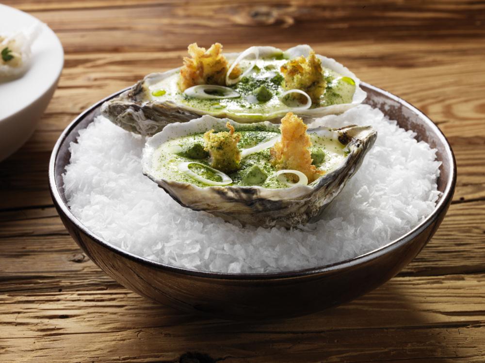 Fried oysters, leek, and potato Photography René Riis