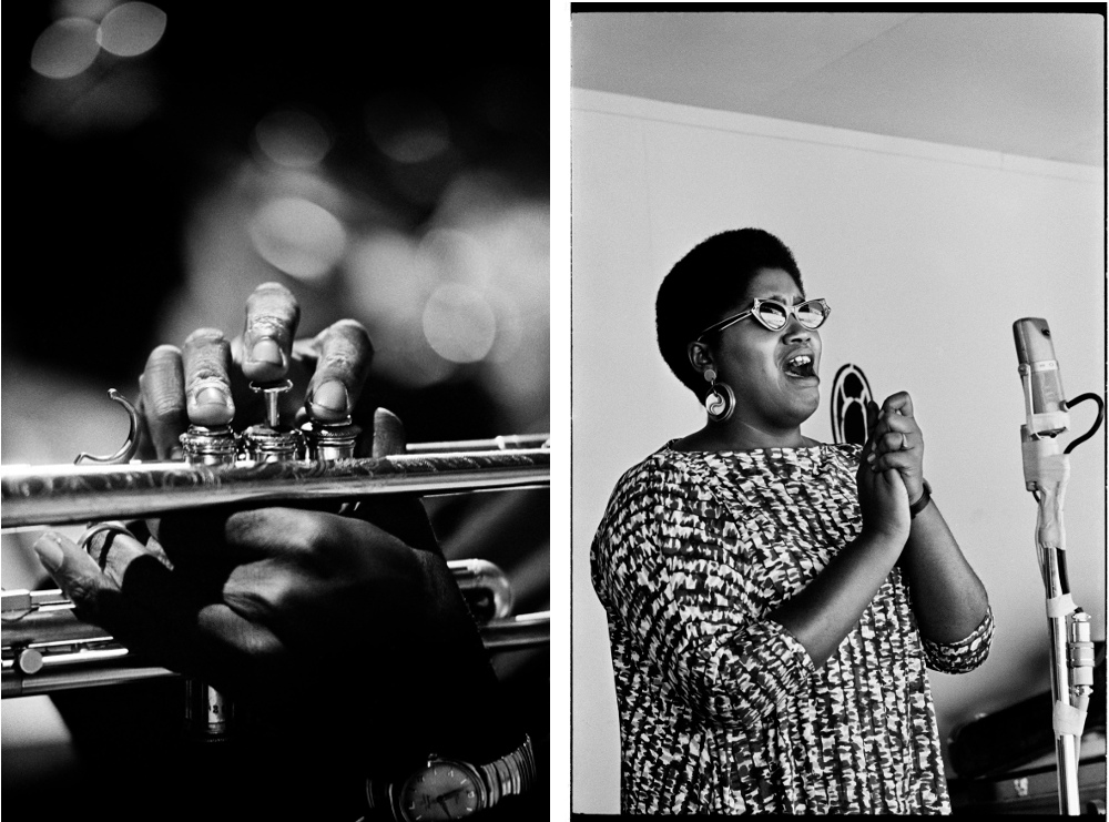 Left: Photographed at Monterey Jazz Festival in Monterey, CA September 21, 1963 © Jim Marshall Photography LLC – Odetta photographed at Monterey Jazz Festival in Monterey, CA September 4, 1960 © Jim Marshall Photography LLC