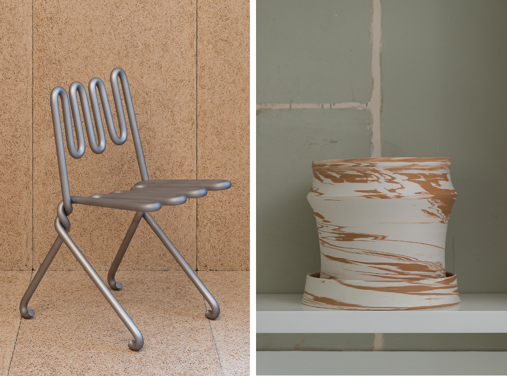 Left: Ali Bar Chair by Max Lamb Right: Duo Tone Duo by Martino Gamper  Photo credit - Damian Griffiths