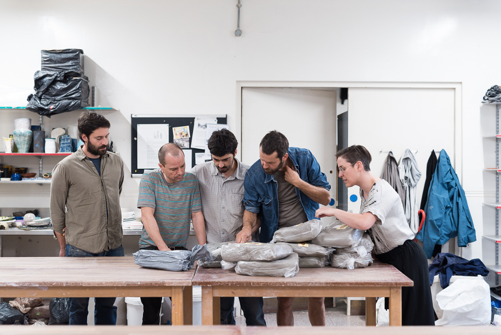 From left to right: Max Frommeld, Jochen Holz, Tiago Almeida, Martino Gamper, Attua Aparicio Torinos (from Silo Studio)<br /> Photo credit - Damian Griffiths