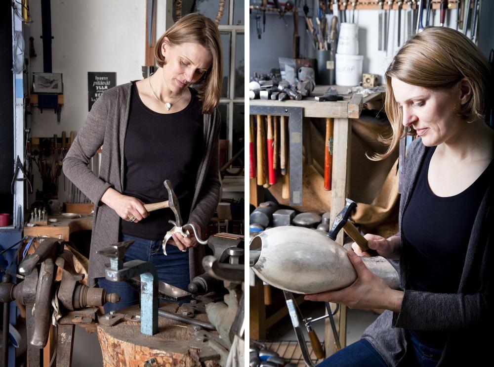 Rauni Higson in her Snowdonia-based workshop